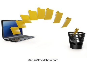 3d laptop data transfer to deleting recycle bin isolated on...