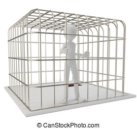 3d man prisoner in a silver cage isolated on white