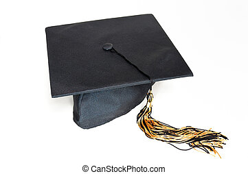 Black graduation cap with tassel - Black graduation cap with...