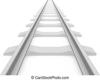 Railroad train tracks - 3D rendering of a railroad track on...
