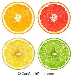 lime, orange, grapefruit and lemon isolated on a white...