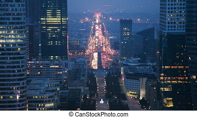 Historical axis, passing from center Paris to west, by night...