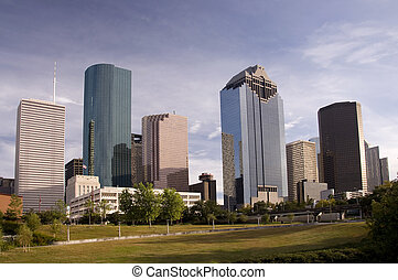 Downtown Houston - Skyline view highrise building in...
