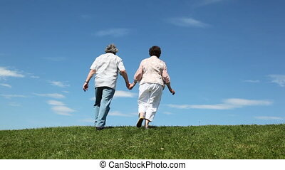 Mature couple leaves hand in hands through hill - mature...