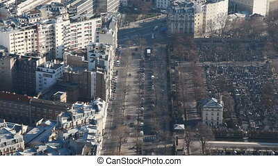 Left homes, and to right cemetery of Montparnasse in Paris -...