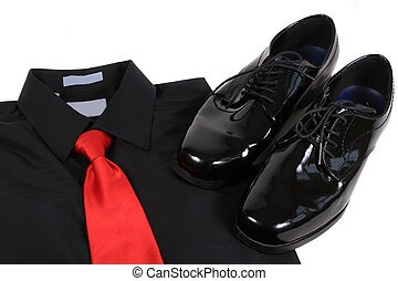 Shiny men's dressy shoes, shirt and tie