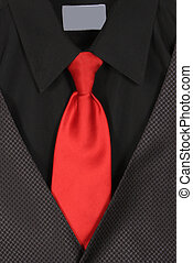 Closeup of suit and tie - Black dressy business shirt, vest...