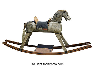 antique rocking horse on a white background