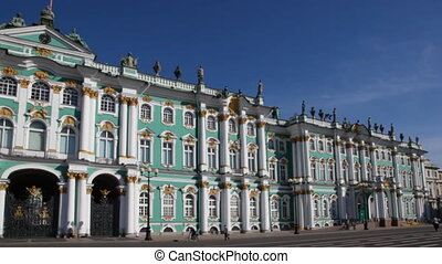 Winter Palace in St Petersburg against blue sky by day