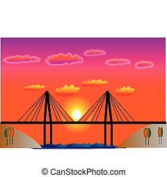 View of the bridge at sunset
