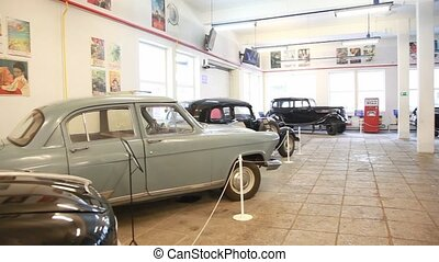Museum of film studio MOSFILM with retro cars inside -...
