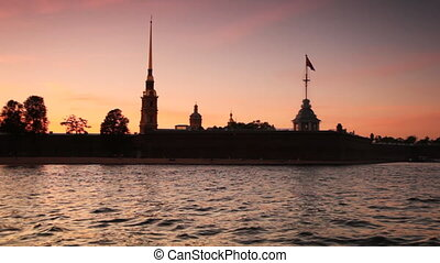 Petropavlovskaya Fortress on bank of Neva in white nights