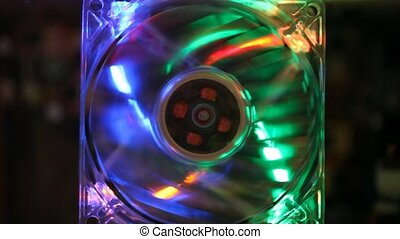 working computer fan with multicolor LED illumination