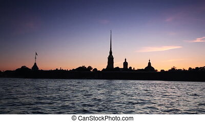 Petropavlovskaya Fortress and Neva River in white nights, St...