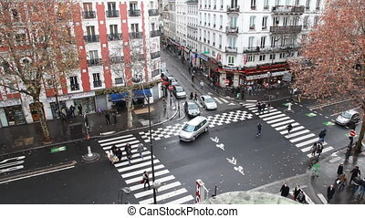 Brisk crossroads near subway station - PARIS - DECEMBER 29:...