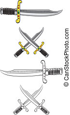 Cutlass Sword Illustrations - Cutlass swords rendered in an...