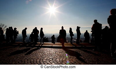People on observation platform at Sacr-Coeur in Paris -...