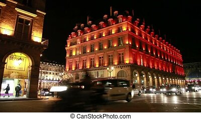 Hotel du Louvre Paris Historic luxury hotel, people walk on...
