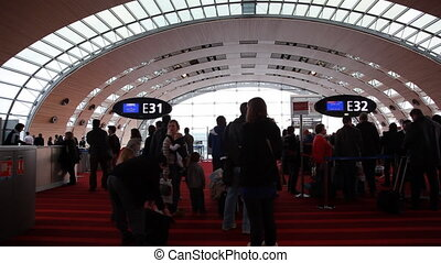People in airport Charles De Gaulle