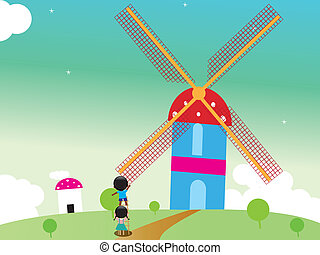 Kids rotating windmill