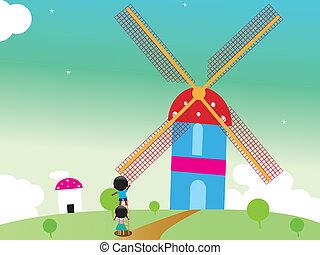 Kids rotating windmill