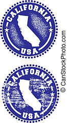 California USA Stamps - A couple of distressed stamps...