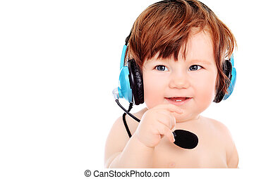 speaker - Adorable baby girl with headset microphone...