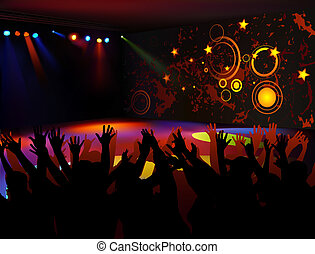 Dance Party - colored background illustration, vector