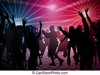Disco Dance - colored background illustration, vector