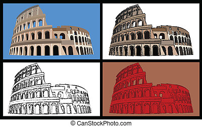 Colisseum - Set of four illustrations of the colisseum