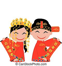 chinese wedding - Chinese bride and groom holding coupletsto...