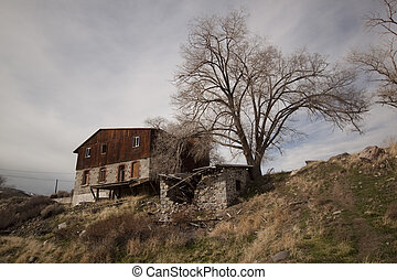 グランジ, 捨てられた, 外気に当って変化した, 家, バラック, 木, キャビン, 家, 構造