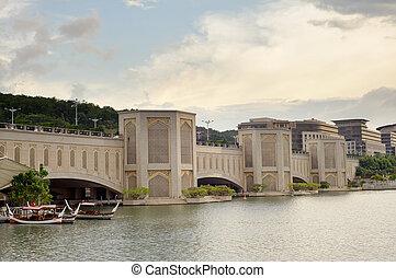 Putra Bridge, famous landmark in Putrajaya, Malaysia, Asia.