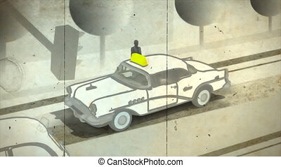 Ride on taxi. Animation style.