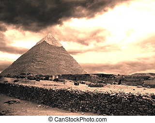 Pyramids of Gizeh near Cairo in Egypt
