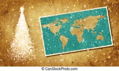 Christmas tree and map of World. - Christmas tree and map of...