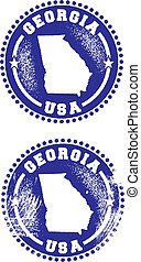 Georgia USA Stamps - A couple of distressed stamps featuring...