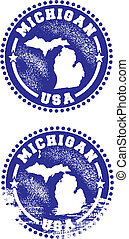 Michigan USA Stamps - A couple of distressed stamps...