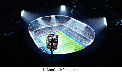 Lighted rugby stadium Top view