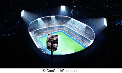 Lighted soccer stadium. Top view.
