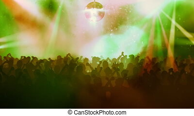 Crowds of people on the disco. Abstract lights.