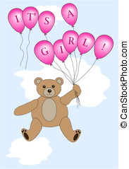 Its a girl bear vector - Teddy bear floating with balloons...