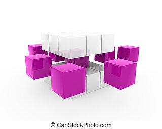 3d cube purple white square business concept puzzle