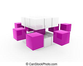 3d cube purple white square business concept puzzle