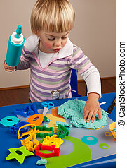 Play dough - Little girl playing with play dough