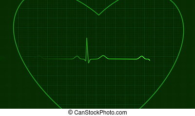 Ecg heart background loop, hd - Loopable ecg on heart...