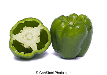 Green bell pepper - Close view of a green bell pepper...