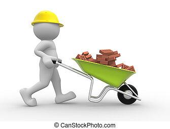 trabalhador, capacete, carrinho de mão