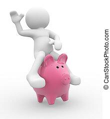 Up a piggy bank - 3d people - human character up a piggy...