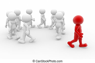 Going in circles - 3d people abandon team - This is a 3d...